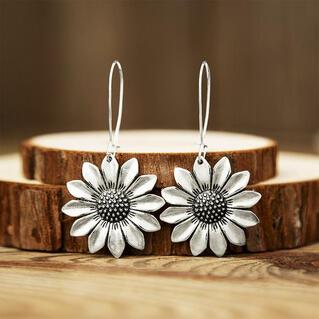 Vintage Sunflower Alloy Earrings