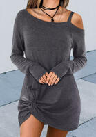 Bellelily coupon: One Sided Cold Shoulder Twist Knitted Mini Dress - Gray