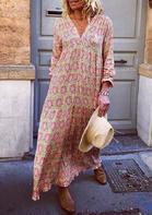 Bellelily coupon: Floral Ruffled Big Hem V-Neck Loose Maxi Dress - Pink