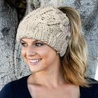 Winter Warm Stretch Bun Beanie Knitted Hat