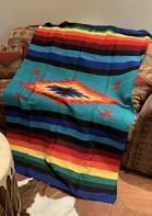 Aztec Geometric Colorful Striped Blanket
