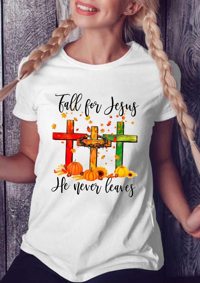 Maple Leaf Pumpkin Cross Sunflower Fall For Jesus T-Shirt Tee - White