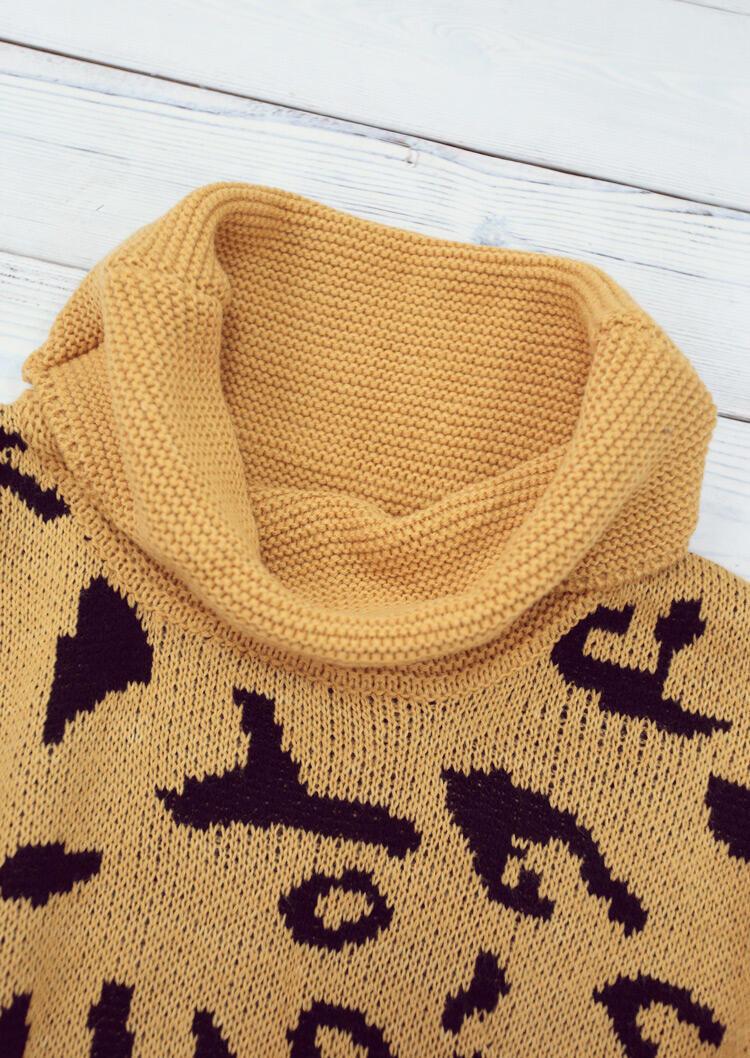 Leopard Turtleneck Pullover Sweater - Khaki