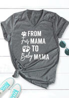 Bellelily coupon: From Fur Mama To Baby Mama Paw Graphic T-Shirt Tee - Gray