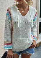 Colorful Striped Kangaroo Pocket Drawstring Hooded Sweater