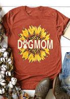 Leopard Sunflower Dog Mom Paw T-Shirt