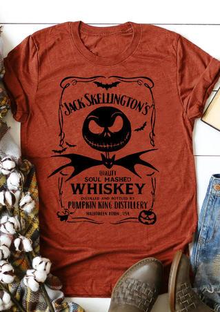 Halloween Pumpkin Bat Whiskey T-Shirt Tee - Orange