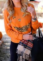 Halloween Leopard Pumpkin Face Pullover Sweatshirt