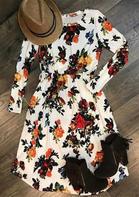 Floral Ruffled O-Neck Long Sleeve Midi Dress