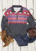 Aztec Geometric Western Cowgirl Zipper Collar Sweatshirt