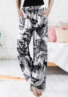 Floral Ink Painting Pocket Wide Leg Pants