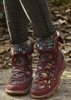 Floral Splicing Lace Up Round Toe Boots