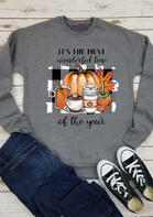 Thanksgiving Pumpkin Maple Leaf Plaid Letter Sweatshirt