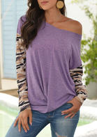 Bellelily coupon: Camouflage Splicing Twist Long Sleeve Blouse - Purple