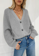 Button Batwing Sleeve Knitted V-Neck Sweater Cardigan