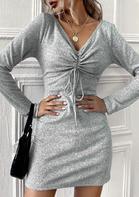 Ruffled Drawstring Tie V-Neck Mini Dress