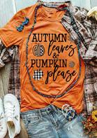 Thanksgiving Leopard Plaid Pumpkin Leaves Letter T-Shirt