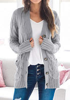 Button Pocket Long Sleeve Knitted Sweater Cardigan
