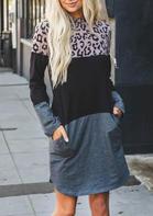 Leopard Color Block Splicing Pocket Mini Dress