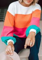 Colorful Striped Lantern Sleeve Sweatshirt
