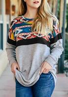 Aztec Geometric Splicing Western Cowgirl Pullover Sweatshirt