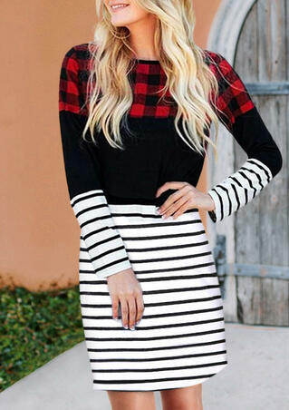 Buffalo Plaid Striped Color Block Splicing Mini Dress