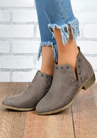 Rivet Hollow Out Chunky Heel Ankle Boots - Light Coffee