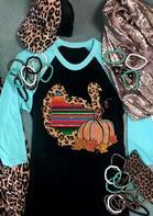 Thanksgiving Leopard Serape Striped Turkey Pumpkin T-Shirt