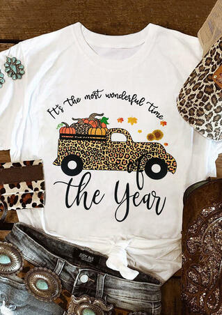 Thanksgiving Leopard Car Pumpkin Sunflower Letter T-Shirt Tee - White
