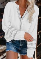 Geometric Raglan Sleeve V-Neck Blouse - White