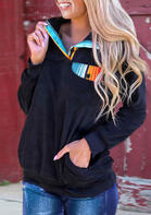 Serape Pocket Button Pullover Sweatshirt