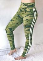 Camouflage Striped Splicing Fitness Sports Leggings