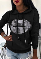 Lips Pattern Drawstring Long Sleeve Casual Pullover Hoodie