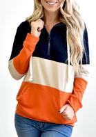 Color Block Zipper Drawstring Kangaroo Pocket Hoodie