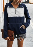 Zipper Collar Splicing Kangaroo Pocket Pullover Sweatshirt