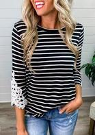 Striped Lace Splicing O-Neck Blouse