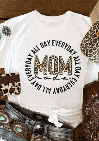 Leopard Mom Mode All Day T-Shirt Tee - White