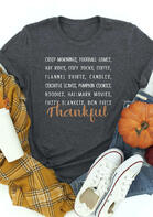Fall Thankful Letter O-Neck T-Shirt
