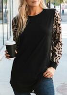 Leopard Splicing Ruffled Long Sleeve Blouse