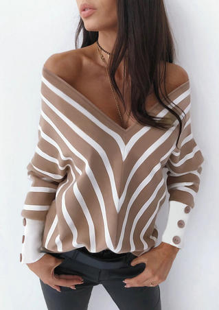 Striped Button Off Shoulder Deep V-Neck Blouse - Khaki