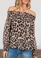Leopard Ruffled Off Shoulder Elastic Cuff Asymmetric Blouse