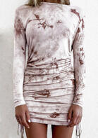 Bellelily coupon: Tie Dye Ruched Drawstring Bodycon Dress