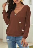 Bellelily coupon: Button V-Neck Long Sleeve Knitted Blouse - Brown
