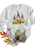 Thanksgiving Leopard Gnomies Pumpkin Sunflower Sweatshirt