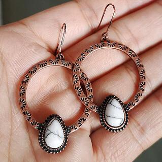 Vintage Water Drop Turquoise Round Earrings