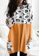 Halloween Pumpkin Color Block Splicing Pocket Blouse