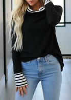 Striped Splicing Long Sleeve Pullover Hoodie