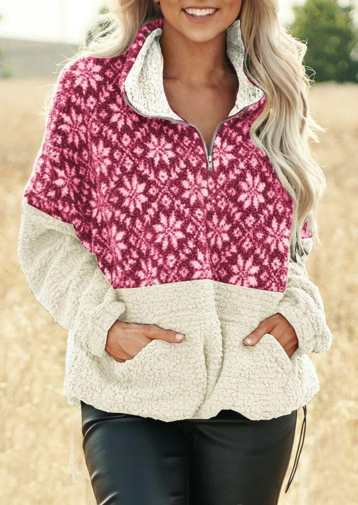 Snowflake Splicing Zipper Collar Fleece Sweatshirt - Rose Red