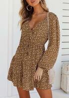 Bellelily coupon: Floral Ruffled Wrap Tie V-Neck Mini Dress - Brown