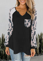 Leopard Splicing Pocket V-Neck Blouse